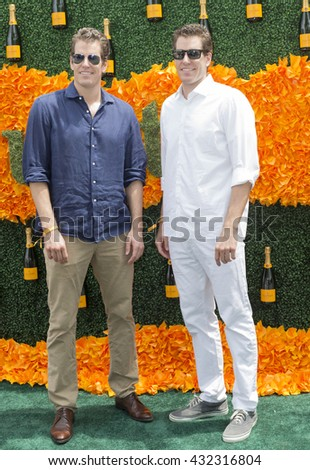 Jersey City, NJ USA - June 4, 2016: Tyler Winklevoss, Cameron Winklevoss attends 9th annual Veuve Clicquot Polo Classic at Liberty State Park - stock photo
