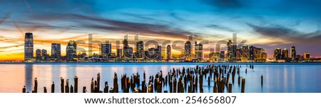 Jersey City panorama at sunset as viewed from Tribeca, New York across the Hudson River