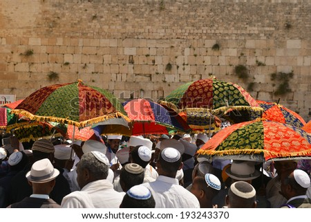 JERUSALEM - APR 17: Kessim, religious leaders of the Ethiopian Jews, Passover prayers near Wailing Wall - Apr. 17, 2014 in Jerusalem, Israel. - stock photo