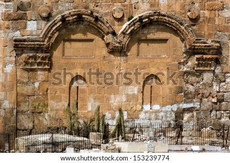 JERUSALEM - APR 13 :The Gate of Mercy on Apr 2006.According to Jewish tradition, the Shekhinah (Divine Presence) used to appear through this gate, and will appear again when the Messiah comes. - stock photo