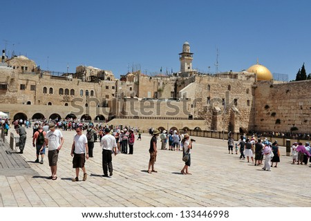 JERUSALEM - APRIL 19:Visitors at the Wailing Wall on April 19 2010 in Jerusalem, Israel.It's arguably the most sacred site recognized by the Jewish faith outside of the Temple Mount itself.