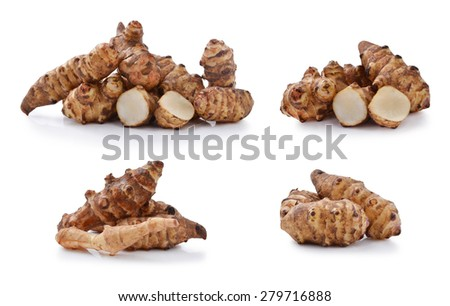 Jerusalem artichoke on a white background