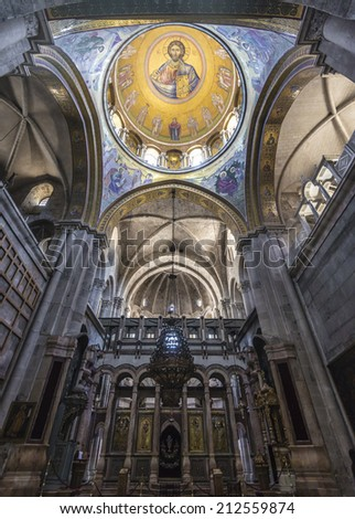 JERUSALEM - AUGUST 1: Church of the Holy Sepulchre in Jerusalem, Israel on August 1, 2014