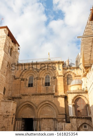 Jerusalem city, inner courtyard of ancient church of the Holy Sepulchre, Israel
