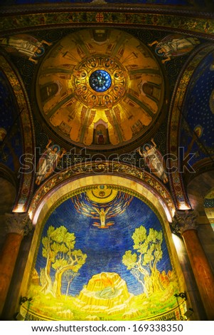 JERUSALEM - DECEMBER 13: Interior of Church of All Nations on December 13, 2013 in Jerusalem. It's a Roman Catholic church located on the Mount of Olives in Jerusalem, next to the Garden of Gethsemane - stock photo