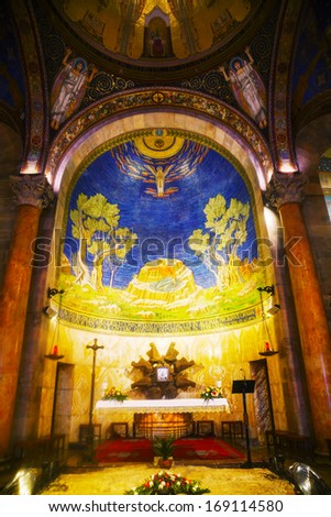 JERUSALEM - DECEMBER 13: Interior of the Church of All Nations on December 13, 2013 in Jerusalem. It's Roman Catholic church located on the Mount of Olives in Jerusalem, near the Garden of Gethsemane - stock photo