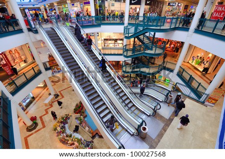 JERUSALEM - FEBRUARY 19: Malha Mall February 19, 2012 in Jerusalem, IL. One of seven built by David Azrieli, the Malha Mall opened in 1993 with 260 stores and a shopping area of 37,000 m�². - stock photo