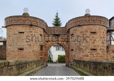 Jerusalem Gate in in the wall around the historic city of Budingen, Germany