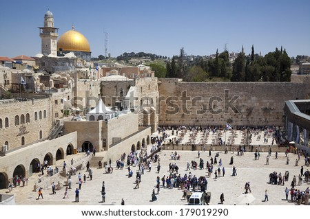 JERUSALEM, ISRAEL - APRIL 20: Jewish worshipers pray at the Wailing Wall  the greatest Shrine of Judaism on april 20, 2012 in Jerusalem, Israel