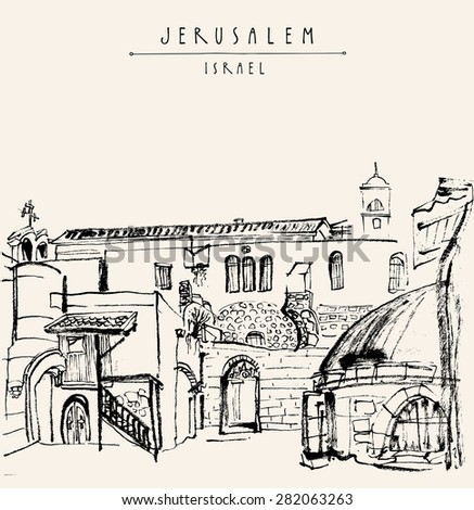Jerusalem, Israel. Black ink brush drawing. Grungy postcard greeting card graphic design template. Freehand travel sketch background with copy space for text. Hand lettering title