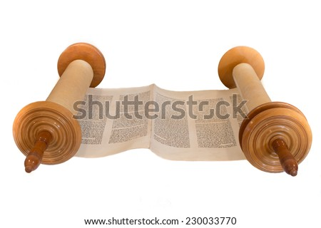 JERUSALEM, ISRAEL, CIRCA 2014. The Hebrew handwritten Torah, on a synagogue alter, illustrating Jewish holidays, during fests. Isolated on white. - stock photo