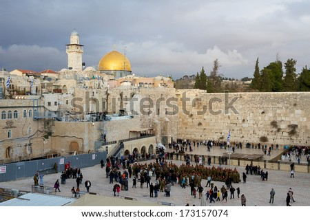 Jerusalem, Israel - 30 December, 2013: Panorama of Wailing wall and Mosque of Al-aqsa in Jerusalem, Israel