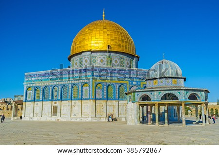JERUSALEM, ISRAEL - FEBRUARY 16, 2016: The Dome of the Rock neighboring with the Dome of the Chain - richly decorated pavilion, used as the prayer house, on February 16 in Jerusalem.
