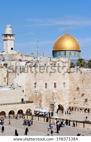 JERUSALEM, ISRAEL - JAN 23: Jewish worshippers pray at the Wailing Wall on Jan 23, 2011 Jerusalem, Israel. The wall is the most sacred site in Judaism outside of the Temple Mount itself.