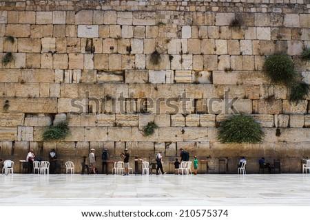 Jerusalem , Israel - July 09 . 2014 : Beautiful photo at the Wailing Wall in the Old City of Jerusalem. Praying at the Wailing Wall. Israel. - stock photo
