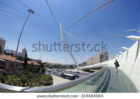JERUSALEM, ISRAEL - JULY 06, 2014: View from the bridge by Santiago Calatrava at the entrance to Jerusalem