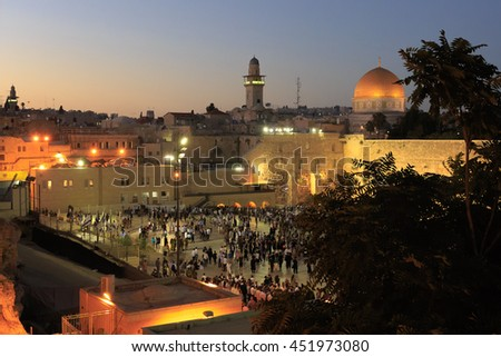 Jerusalem, Israel - July 01, 2016: View on the Western Wall before Shabbat prayer - stock photo