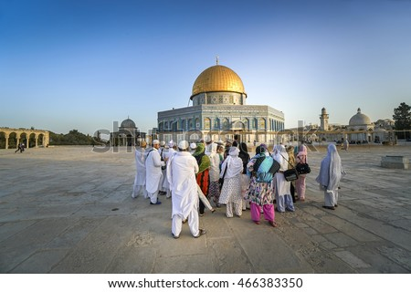 JERUSALEM, ISRAEL - JUNE 2, 2016: Dome of Rock or Qubbatus Sakhra in Masjidil Aqsa compound is one of the sacred building for the Jews and Muslim in Israel.