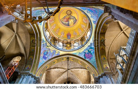 Jerusalem, Israel - June 27, 2016: Interior of the Church of the Holy Sepulchre