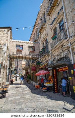 JERUSALEM, ISRAEL - JUNE 1, 2015: The streets of the old city of Jerusalem. June 1, 2015. Jerusalem, Israel.