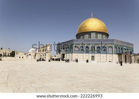 Jerusalem, Israel - 19 March, 2012: Panorama of  Mosque of Al-aqsa in Jerusalem, Israel