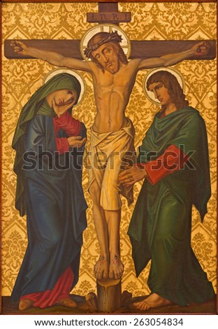JERUSALEM, ISRAEL - MARCH 4, 2015: The Crucifixion paint from end of 19. cent. by unknown artist as part of cross way cylce in Armenian Church Of Our Lady Of The Spasm. - stock photo