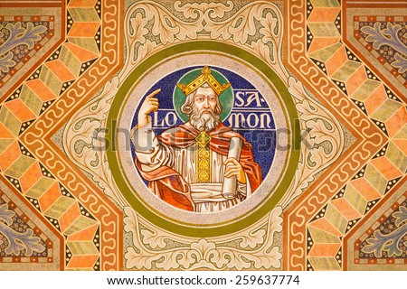 JERUSALEM, ISRAEL - MARCH 3, 2015: The king Salomon. Paint on the ceiling of Evangelical Lutheran Church of Ascension designed by H. Schaper and F. Pfannschmidt (1988-1991). - stock photo