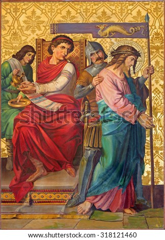 JERUSALEM, ISRAEL - MARCH 4, 2015: The paint Jesus judgment for Pilate from end of 19. cent. by unknown artist as part of cross way cylce in Armenian Church Of Our Lady Of The Spasm.
