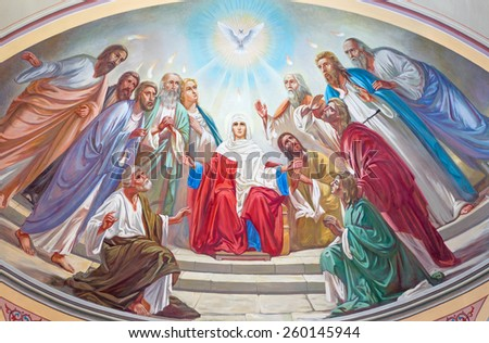 JERUSALEM, ISRAEL - MARCH 5 , 2015: The Pentecost scene. Fresco from 20. cent. in the side apse of Russian orthodox cathedral of Holy Trinity in the Russian Compound. - stock photo