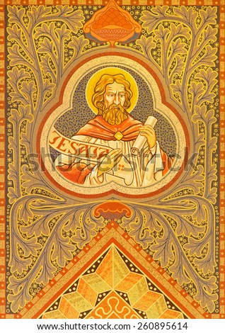 JERUSALEM, ISRAEL - MARCH 3, 2015: The prophet Jesaja.  Mosiaic on the side altar of Evangelical Lutheran Church of Ascension designed by H. Schaper and F. Pfannschmidt (1988-1991). - stock photo