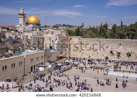 JERUSALEM, ISRAEL - MAY 06, 2015: Aerial view from Western Wall and Dome of the Rock, in Jerusalem. Pilgrimage place