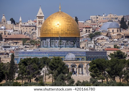 JERUSALEM, ISRAEL - MAY 07, 2015: Dome of the Rock in Jerusalem, one of the oldest cities in the world