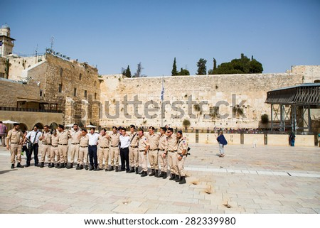 Jerusalem, Israel - May 27: Wailing wall of Jerusalem in The Old City and a lot of soldiers of Israel on May 27, 2015 in Jerusalem, Israel.