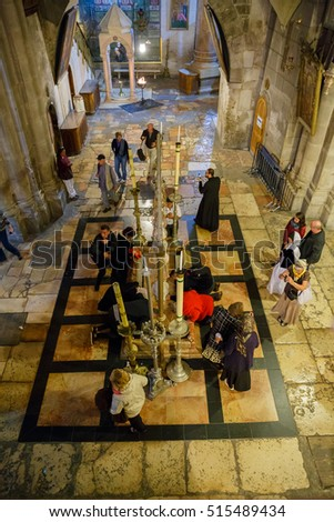Jerusalem, Israel - Nov 06, 2016: View from Mount Calvary to stone of anointing in Holy Sepulcher, Jerusalem, Israel