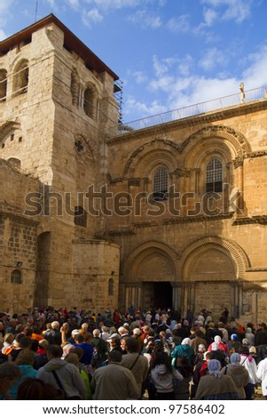 JERUSALEM, ISRAEL - NOVEMBER, 4.Church of the Holy Sepulchre on the Via Dolorosa Way of Suffering in the old city of Jerusalem on November 4, 2011. Holy Sepulchre is the most visited place in Israel