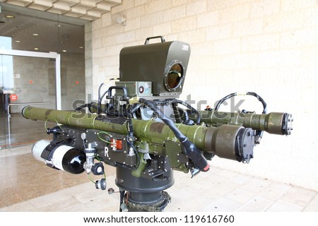 JERUSALEM, ISRAEL - NOVEMBER 20: RED SKY-2 Compact Air Defense Missile System on display in the International Aerospace 2012 Exhibition at Jerusalem International Convention Center, 20 November 2012