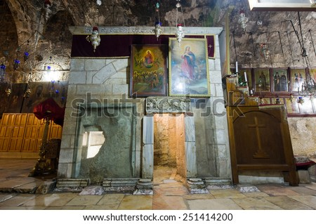 JERUSALEM, ISRAEL - 09 OCT, 2014: Exit of the Tomb of the Virgin Mary, the mother of Jesus at the foot of mount of olives in Jerusalem - stock photo