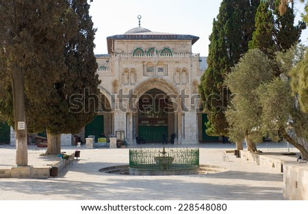 JERUSALEM, ISRAEL - OCT 08, 2014: The entrance of the Al-aqsa mosque on the temple-square in Jerusalem, October 08 in Israel - stock photo