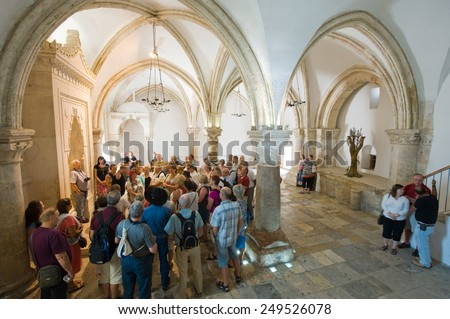 JERUSALEM, ISRAEL - OCT 09, 2014: 'The last supper room' on mount Zion is the place where Jesus Christ shared his last supper with his disciples - stock photo
