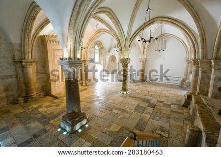 JERUSALEM, ISRAEL - 09 OCT, 2014: 'The last supper room' on mount Zion is the place where Jesus Christ shared his last supper with his disciples