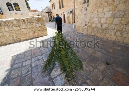 JERUSALEM, ISRAEL - 08 OCTOBER, 2014: A jewish man is pulling palm leaves with him to prepare for the 'feast of tabernacles' also calle sukkot in Jerusalem - stock photo