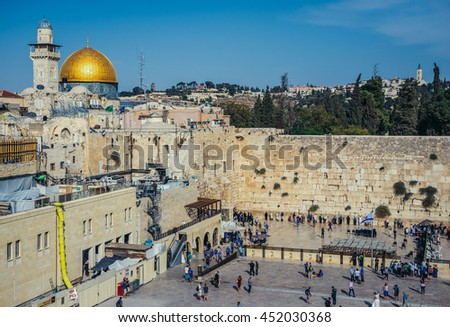 Jerusalem, Israel - October 22, 2015. Aerial view of Dome of Rock and Wailing Wall in Jerusalem city
