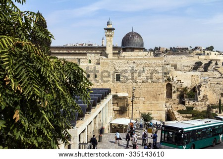 JERUSALEM, ISRAEL - OCTOBER 13, 2015:  Al Aqsa Mosque,  third holiest site in Islam on  Temple Mount at the Old City . Was  built and rebuilt  from 705 CE to 1035 and has stood to the present day