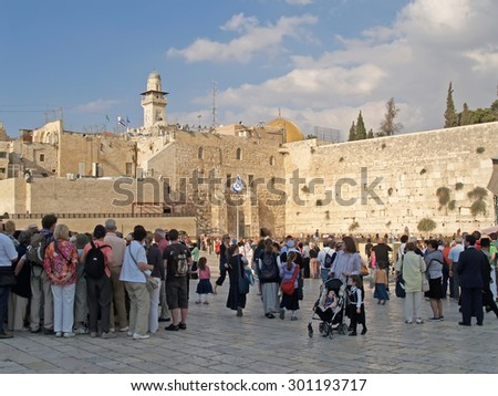 JERUSALEM, ISRAEL - 09 OCTOBER, 2012: Pilgrims and tourists on the square in front of the Wailing Wall