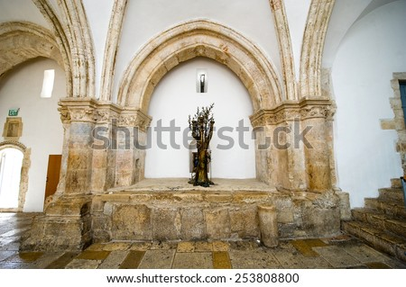 JERUSALEM, ISRAEL - 08 OCTOBER, 2014: 'The tree of life' in the last supper room. 'The last supper room' on mount Zion is the place where Jesus Christ shared his last supper with his disciples - stock photo