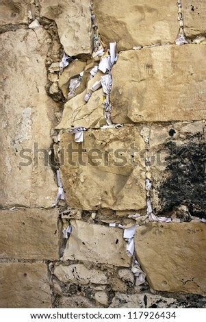 Jerusalem, Israel. Western Wall. Notes with desires of believers - stock photo