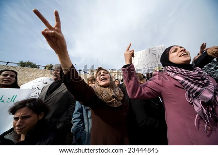 Jerusalem - JANUARY 16: Demonstration against war in Gaza strip on January 16, 2009 at Old City, Jerusalem, Israel.