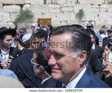 JERUSALEM - JULY 29 :  US Republican presidential candidate Mitt Romney visit the Western wall in old Jerusalem during his visit to Jerusalem, Israel on July 29, 2012 - stock photo