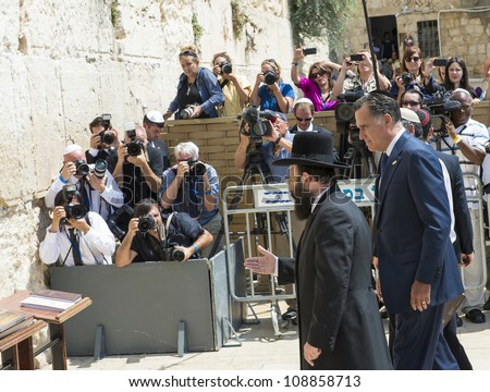 JERUSALEM - JULY 29 :  US Republican presidential candidate Mitt Romney visit the Western wall in old Jerusalem during his visit to Jerusalem, Israel on July 29, 2012