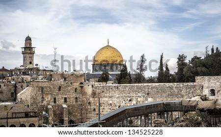 Jerusalem landscape over the western wall - stock photo